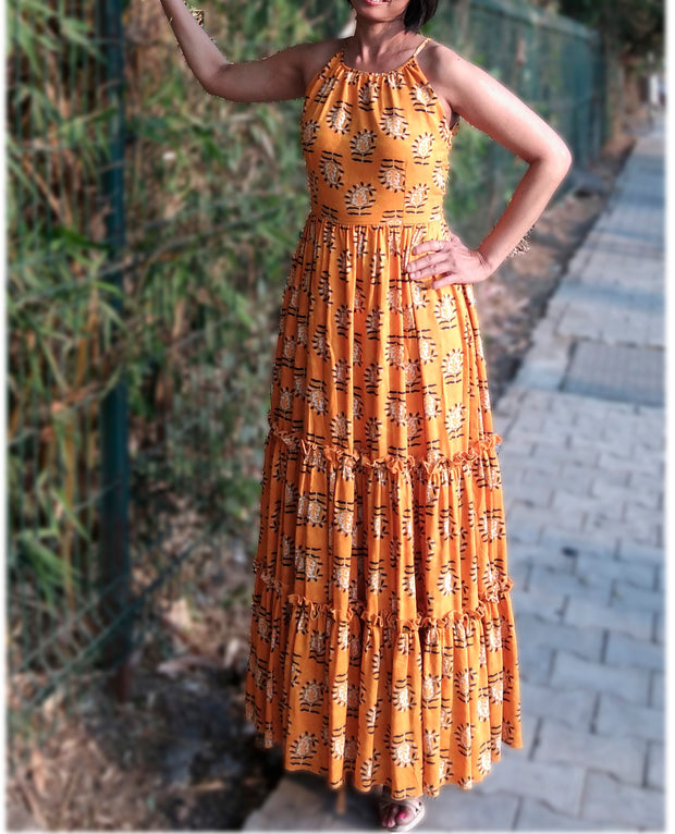 DeeVineeTi Made To Measure Indian Women's Cotton Sleeveless Summer Tiered Gathered Yellow Paisley Printed Maxi Dress Gown 5