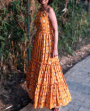 DeeVineeTi Made To Measure Indian Women's Cotton Sleeveless Summer Tiered Gathered Yellow Paisley Printed Maxi Dress Gown 6