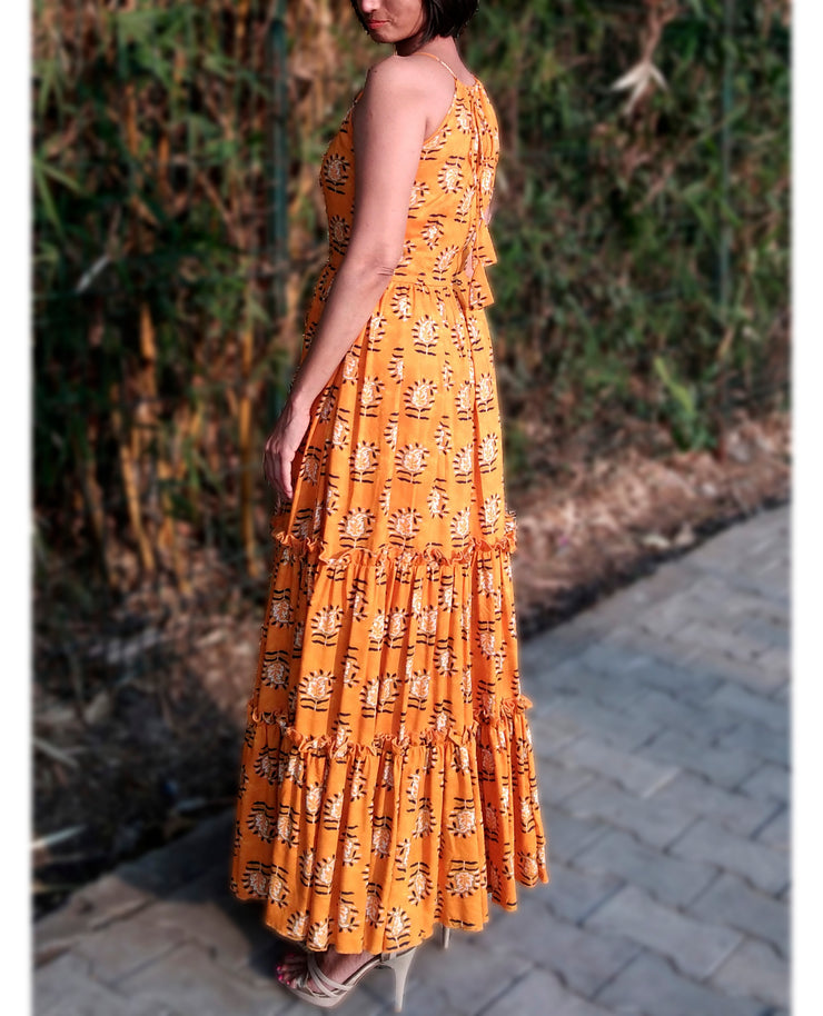 DeeVineeTi Made To Measure Indian Women's Cotton Sleeveless Summer Tiered Gathered Yellow Paisley Printed Maxi Dress Gown 7