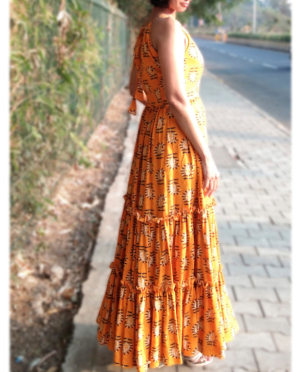 DeeVineeTi Made To Measure Indian Women's Cotton Sleeveless Summer Tiered Gathered Yellow Paisley Printed Maxi Dress Gown 8