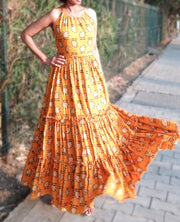 DeeVineeTi Made To Measure Indian Women's Cotton Sleeveless Summer Tiered Gathered Yellow Paisley Printed Maxi Dress Gown 9