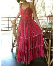DeeVineeTi Made To Measure Indian Women's Cotton Spaghetti Summer Tiered Gathered Red Striped Printed Maxi Dress Gown 3
