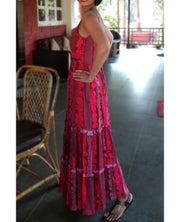 DeeVineeTi Made To Measure Indian Women's Cotton Spaghetti Summer Tiered Gathered Red Striped Printed Maxi Dress Gown 4