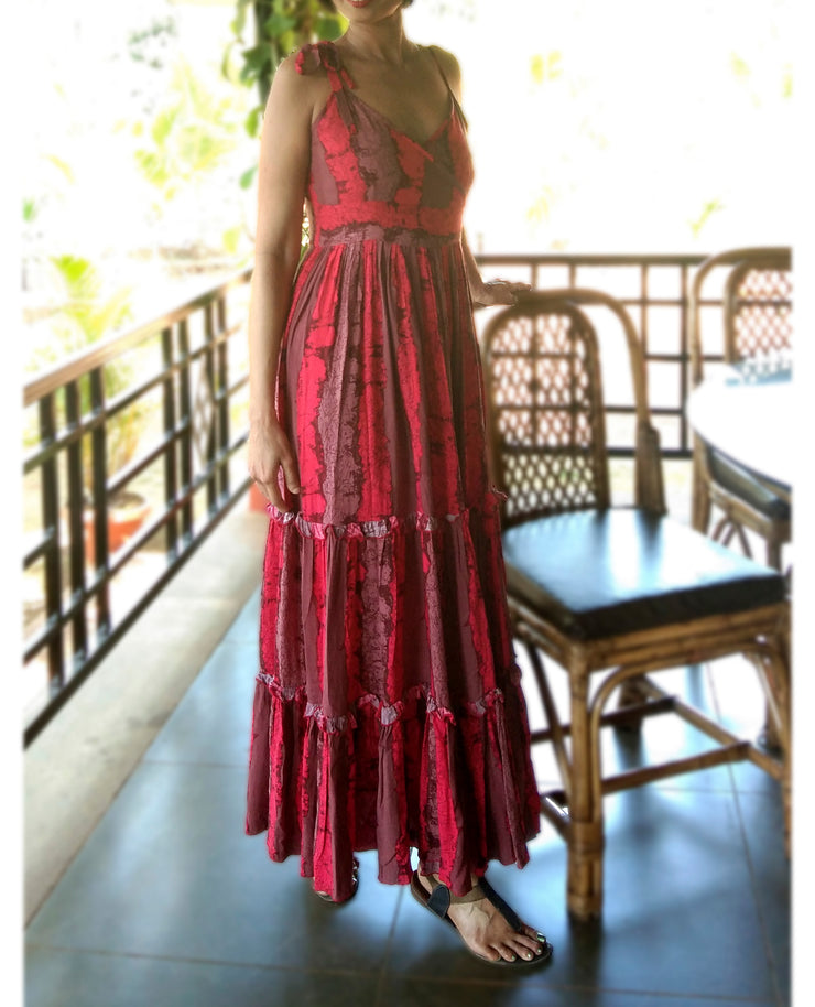 DeeVineeTi Made To Measure Indian Women's Cotton Spaghetti Summer Tiered Gathered Red Striped Printed Maxi Dress Gown 5
