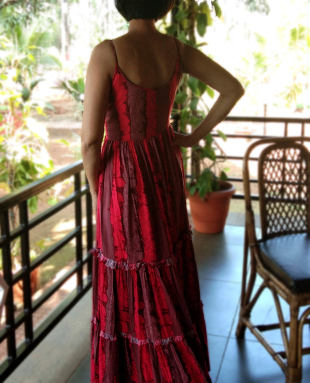 DeeVineeTi Made To Measure Indian Women's Cotton Spaghetti Summer Tiered Gathered Red Striped Printed Maxi Dress Gown 6