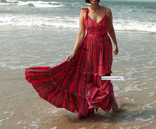 DeeVineeTi Made To Measure Indian Women's Cotton Spaghetti Summer Tiered Gathered Red Striped Printed Maxi Dress Gown 7