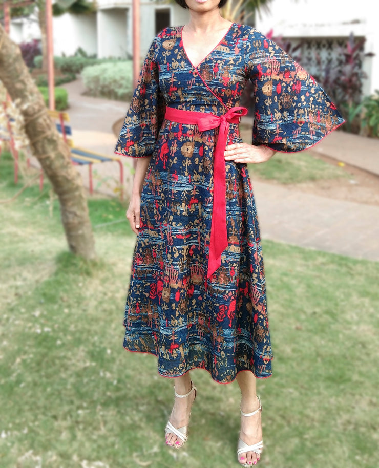 DeeVineeTi Made To Measure Indian Women's Cotton Summer Aline Blue Printed Midi Dress With Long Sleeves 5