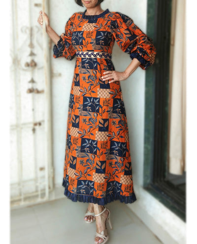 DeeVineeTi Made To Measure Indian Women's Cotton Summer Aline Brown Printed Long Dress With Puff Sleeves / Long Sleeves 1