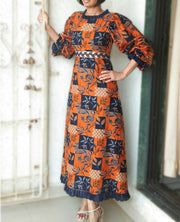 DeeVineeTi Made To Measure Indian Women's Cotton Summer Aline Brown Printed Long Dress With Puff Sleeves / Long Sleeves 2