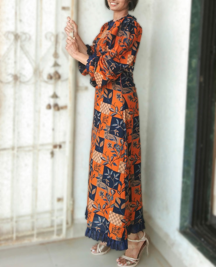DeeVineeTi Made To Measure Indian Women's Cotton Summer Aline Brown Printed Long Dress With Puff Sleeves / Long Sleeves 3