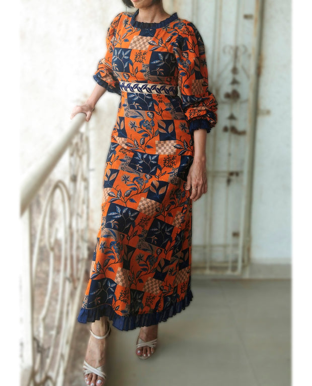 DeeVineeTi Made To Measure Indian Women's Cotton Summer Aline Brown Printed Long Dress With Puff Sleeves / Long Sleeves 4