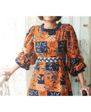 DeeVineeTi Made To Measure Indian Women's Cotton Summer Aline Brown Printed Long Dress With Puff Sleeves / Long Sleeves 5