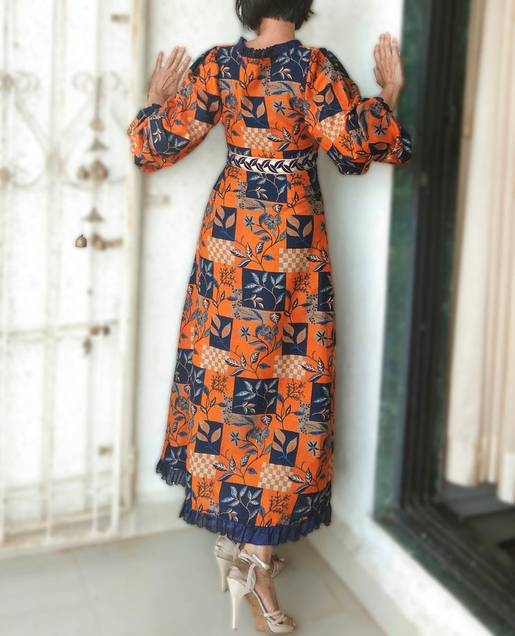 DeeVineeTi Made To Measure Indian Women's Cotton Summer Aline Brown Printed Long Dress With Puff Sleeves / Long Sleeves 6