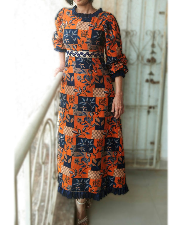 DeeVineeTi Made To Measure Indian Women's Cotton Summer Aline Brown Printed Long Dress With Puff Sleeves / Long Sleeves 7