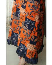 DeeVineeTi Made To Measure Indian Women's Cotton Summer Aline Brown Printed Long Dress With Puff Sleeves / Long Sleeves 9