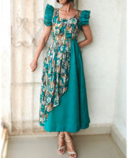 DeeVineeTi Made To Measure Indian Women Cotton Summer Aline Green Printed Pleated Layered Dress With Short Ruffled Sleeves 1