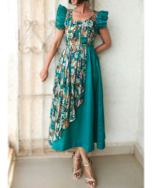 DeeVineeTi Made To Measure Indian Women Cotton Summer Aline Green Printed Pleated Layered Dress With Short Ruffled Sleeves 4