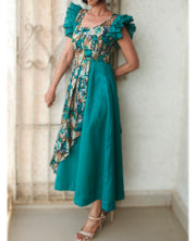 DeeVineeTi Made To Measure Indian Women Cotton Summer Aline Green Printed Pleated Layered Dress With Short Ruffled Sleeves 5