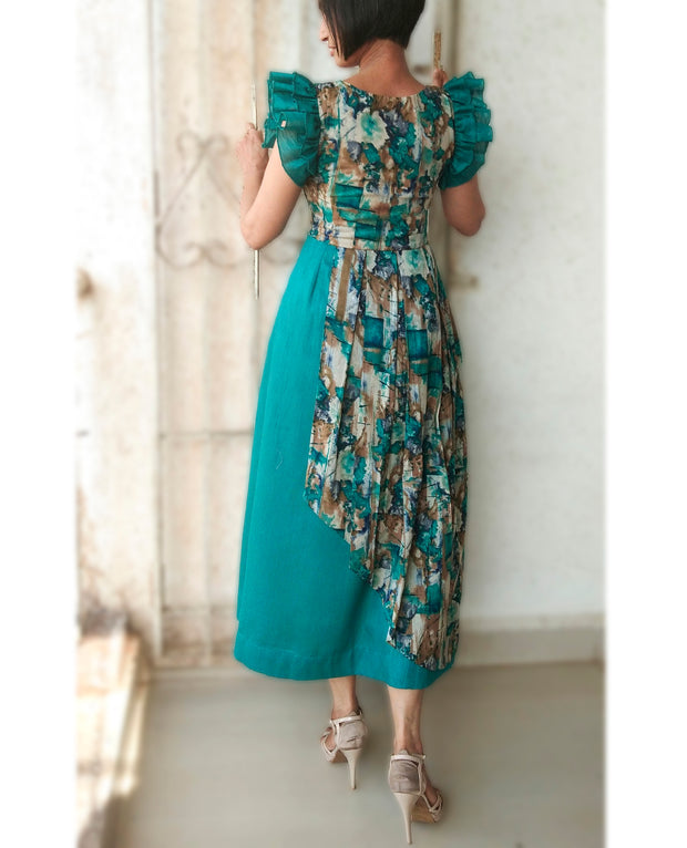 DeeVineeTi Made To Measure Indian Women Cotton Summer Aline Green Printed Pleated Layered Dress With Short Ruffled Sleeves 6