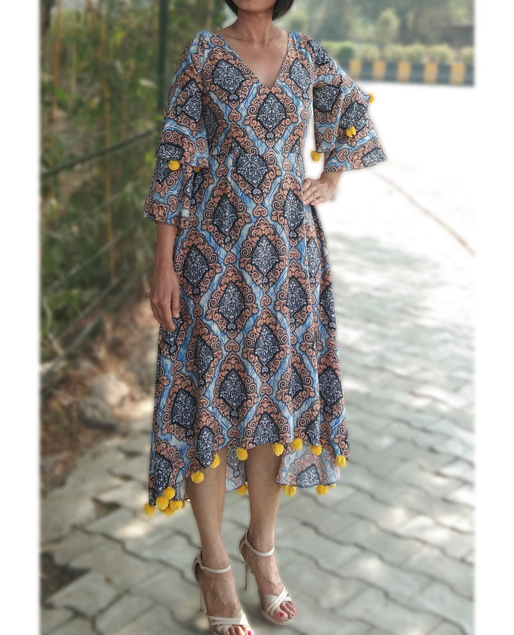 DeeVineeTi Made To Measure Indian Women Cotton Summer Aline High Low Blue Printed Midi Dress With Long Bell Ruffled Sleeves 2