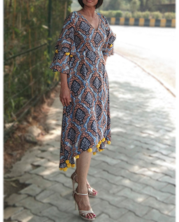 DeeVineeTi Made To Measure Indian Women Cotton Summer Aline High Low Blue Printed Midi Dress With Long Bell Ruffled Sleeves 5