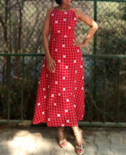 DeeVineeTi Made To Measure Indian Women's Cotton Summer Aline Red Checkered Printed Sleeveless Maxi Dress Gown 1