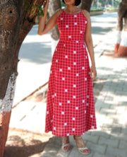 DeeVineeTi Made To Measure Indian Women's Cotton Summer Aline Red Checkered Printed Sleeveless Maxi Dress Gown 2