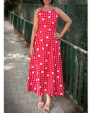 DeeVineeTi Made To Measure Indian Women's Cotton Summer Aline Red Checkered Printed Sleeveless Maxi Dress Gown 3