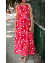 DeeVineeTi Made To Measure Indian Women's Cotton Summer Aline Red Checkered Printed Sleeveless Maxi Dress Gown 4