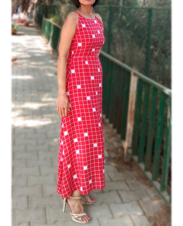 DeeVineeTi Made To Measure Indian Women's Cotton Summer Aline Red Checkered Printed Sleeveless Maxi Dress Gown 5