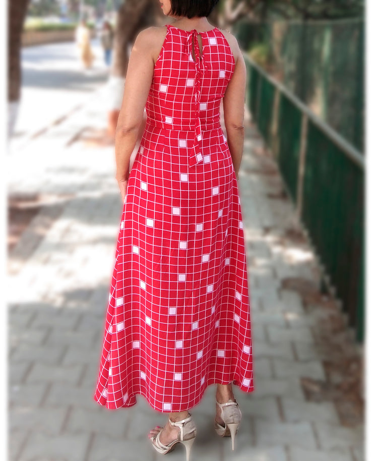 DeeVineeTi Made To Measure Indian Women's Cotton Summer Aline Red Checkered Printed Sleeveless Maxi Dress Gown 6