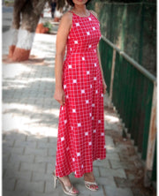 DeeVineeTi Made To Measure Indian Women's Cotton Summer Aline Red Checkered Printed Sleeveless Maxi Dress Gown 7