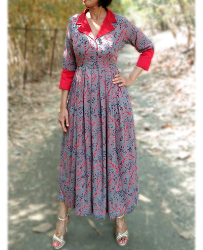 DeeVineeTi Made To Measure Indian Women's Cotton Summer Box Pleated Grey Floral Printed Midi Dress With Long Sleeves 1