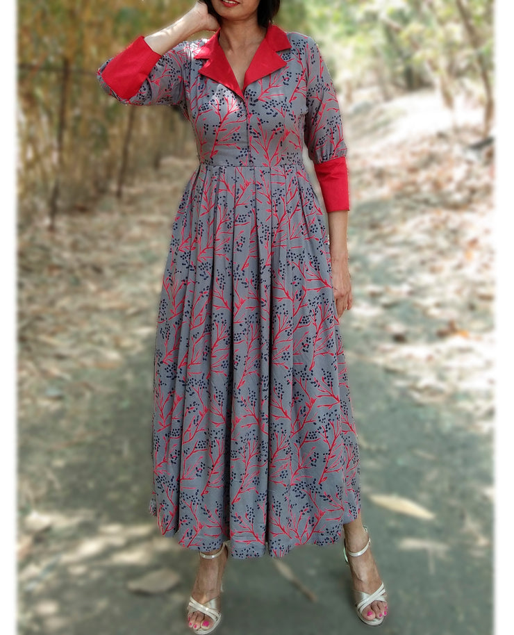 DeeVineeTi Made To Measure Indian Women's Cotton Summer Box Pleated Grey Floral Printed Midi Dress With Long Sleeves 3