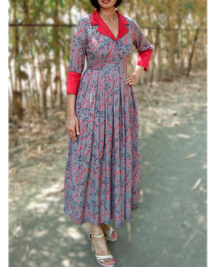 DeeVineeTi Made To Measure Indian Women's Cotton Summer Box Pleated Grey Floral Printed Midi Dress With Long Sleeves 4