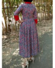 DeeVineeTi Made To Measure Indian Women's Cotton Summer Box Pleated Grey Floral Printed Midi Dress With Long Sleeves 5