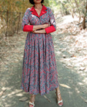 DeeVineeTi Made To Measure Indian Women's Cotton Summer Box Pleated Grey Floral Printed Midi Dress With Long Sleeves 8