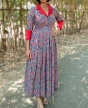 DeeVineeTi Made To Measure Indian Women's Cotton Summer Box Pleated Grey Floral Printed Midi Dress With Long Sleeves 9