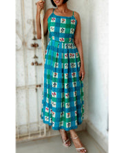 DeeVineeTi Made To Measure Indian Women's Cotton Summer Box Pleated Spaghetti Green Blue Checkered Printed Midi Dress 10