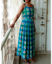 DeeVineeTi Made To Measure Indian Women's Cotton Summer Box Pleated Spaghetti Green Blue Checkered Printed Midi Dress 3