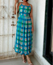 DeeVineeTi Made To Measure Indian Women's Cotton Summer Box Pleated Spaghetti Green Blue Checkered Printed Midi Dress 4