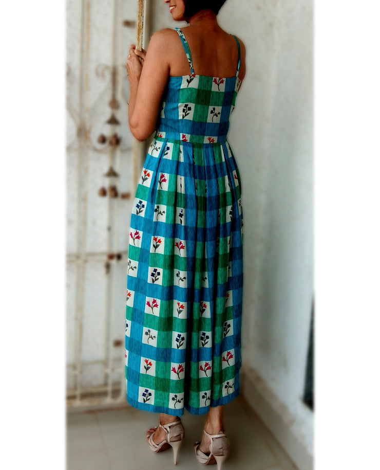 DeeVineeTi Made To Measure Indian Women's Cotton Summer Box Pleated Spaghetti Green Blue Checkered Printed Midi Dress 5