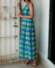 DeeVineeTi Made To Measure Indian Women's Cotton Summer Box Pleated Spaghetti Green Blue Checkered Printed Midi Dress 6