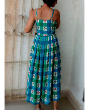 DeeVineeTi Made To Measure Indian Women's Cotton Summer Box Pleated Spaghetti Green Blue Checkered Printed Midi Dress 8