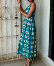 DeeVineeTi Made To Measure Indian Women's Cotton Summer Box Pleated Spaghetti Green Blue Checkered Printed Midi Dress 9