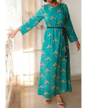 DeeVineeTi Made To Measure Indian Women's Cotton Summer Gathered Aline Green Printed Long Dress With Long Sleeves 1
