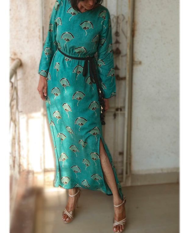 DeeVineeTi Made To Measure Indian Women's Cotton Summer Gathered Aline Green Printed Long Dress With Long Sleeves 2