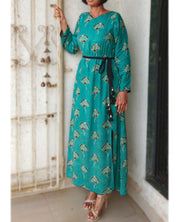 DeeVineeTi Made To Measure Indian Women's Cotton Summer Gathered Aline Green Printed Long Dress With Long Sleeves 3