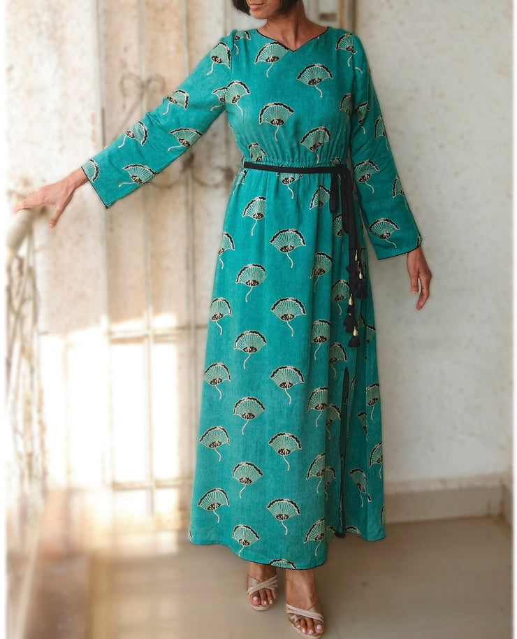 DeeVineeTi Made To Measure Indian Women's Cotton Summer Gathered Aline Green Printed Long Dress With Long Sleeves 4