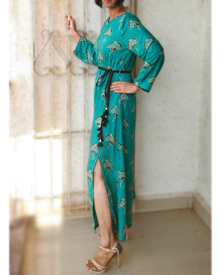 DeeVineeTi Made To Measure Indian Women's Cotton Summer Gathered Aline Green Printed Long Dress With Long Sleeves 5